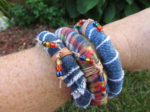 Bracelets - Bangles - Perfect for Summer -Denim and Madras Covered Bangles - Set of Three with Leather Cord and Bead Accents