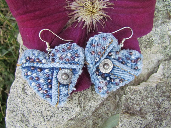 Earring - Heart-Shaped, Recycled Calvin Klein Brand Denim - Hand-Beaded - Upcycled