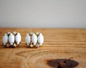 Vintage Earrings - White Clip On Earrings with Rhinestones