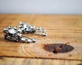 Vintage Earrings - Clip On Earrings with Clear Rhinestones