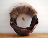 Vintage Cocktail Hat - Fur Hat with Attached Veil