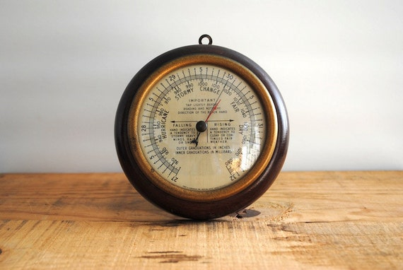 Vintage Barometer - Solid Wood Weather Station