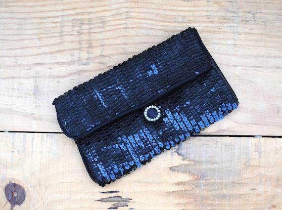 Vintage Evening Clutch - Norell Black Sequin Purse