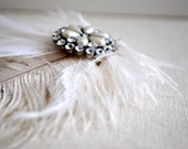 RESERVED - Do Not Purchase - Bridal Hair Fascinator Feather White Ivory Crystals - OOAK Evita Hair Clip