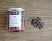 Lavender and Tea Tree Bath Salts. Dead Sea Salt with Essential Oils, 8 oz. Jar Vegan