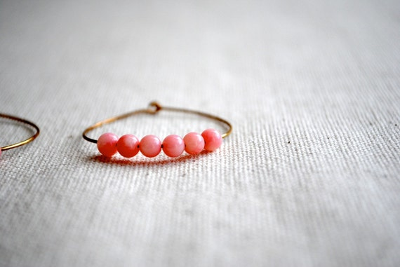 Pink Hoop Earrings - Gold Tone Hoops with Pink Beads