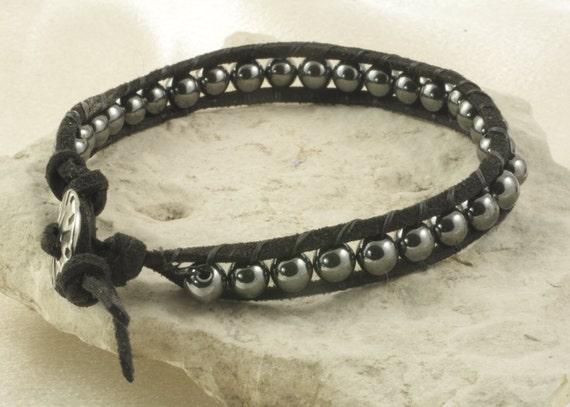 Masculine Hematite Black Leather Beaded Bracelet