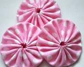 6 light pink white polka dots cotton fabric yoyos