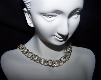 Multi-color or Silver Helm Chainmaille Necklace