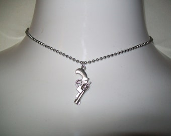 Six Shooter Gun Pendant and Necklace