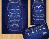 Fireflies Mason Jar Wedding Invitation DIY Set (printable)