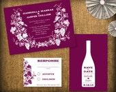 Winery Wedding Invitation DIY Set (printable) - Invitation, RSVP & Save the Date