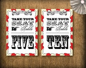 Circus/Carnival Wedding Table Numbers DIY Set (printable) - 1 to 10