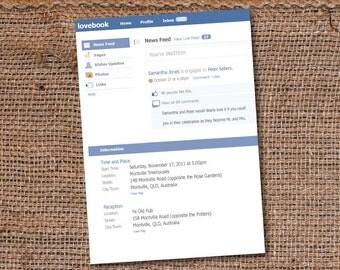 Fun Facebook Status Update Wedding/Party Invitation DIY Set (printable)