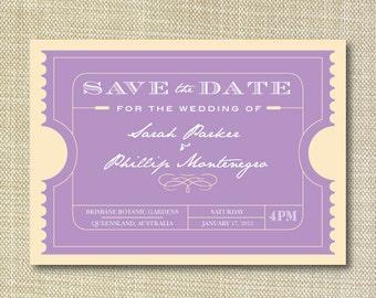 Movie Ticket Vintage Save the Date DIY Set (printable)