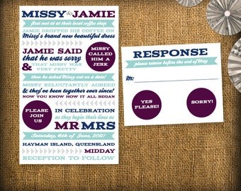 Our Story Wedding Invitation Suite DIY (printable) - Invitation and RSVP Design