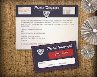 Vintage Telegram Wedding Invitation Suite DIY (printable) - Invitation & Response Design