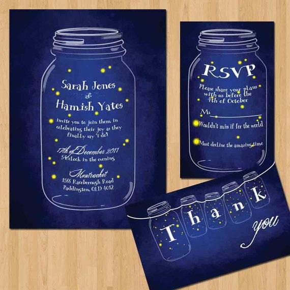 Wedding Invitations Mason Jar: Items Similar To Fireflies Mason Jar Wedding Invitation