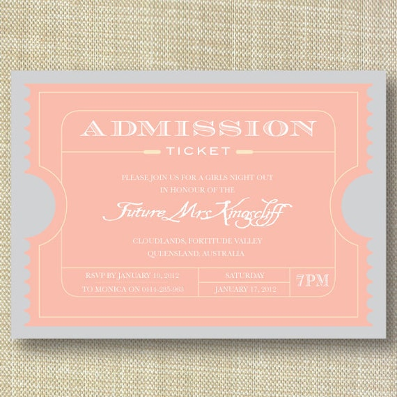 Movie Ticket Vintage Bachelorette Party Invitations DIY Set (printable)