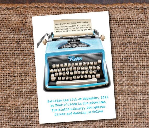 RETRO Typewriter Wedding/Party Invitation DIY Set (printable)