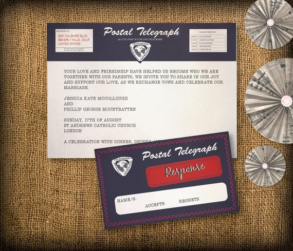 Items Similar To Vintage Telegram Wedding Invitation Suite