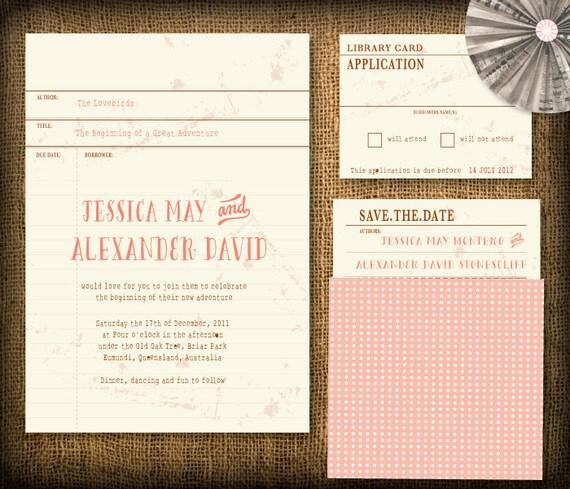 Vintage Library Card Wedding Invitation DIY Set (printable)