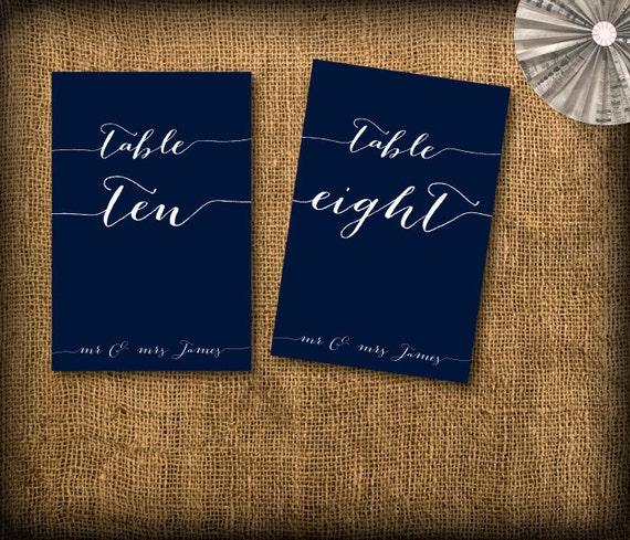 Calligraphy Wedding Table Numbers DIY (printable) 1-15