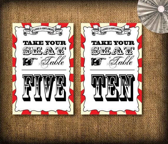 Circus/Carnival Wedding Table Numbers DIY Set (printable) - 1 to 10