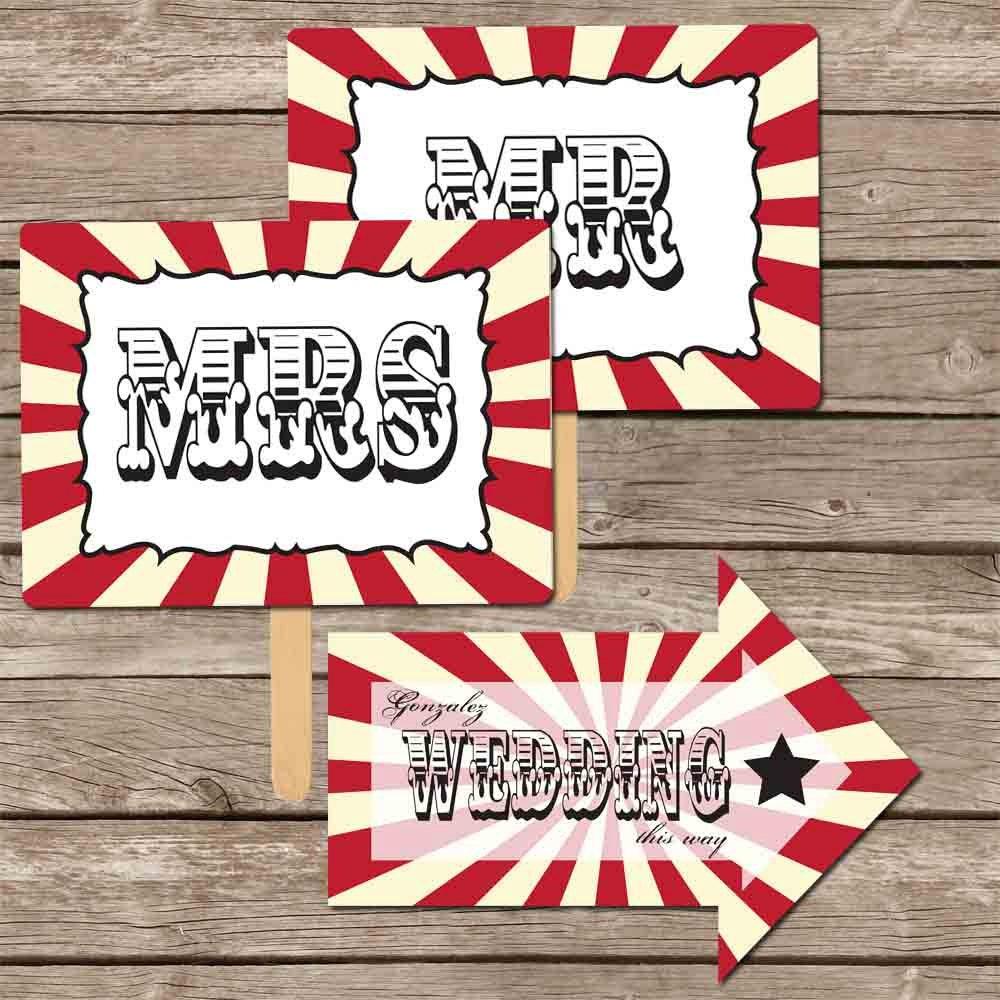 Etsy Wedding Signs: Circus/Carnival Wedding Signs DIY Set Printable By