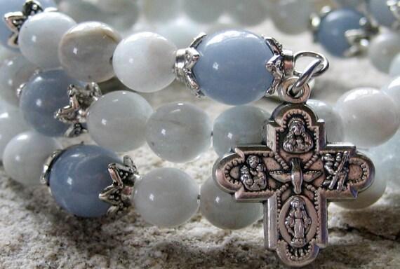 Rosary Bracelet - Miraculous, Light Blue Aquamarine & Angelite, Five Decade Memory Wire Rosary Bracelet