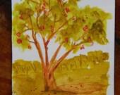 Rowan Tree Original Watercolor Painting