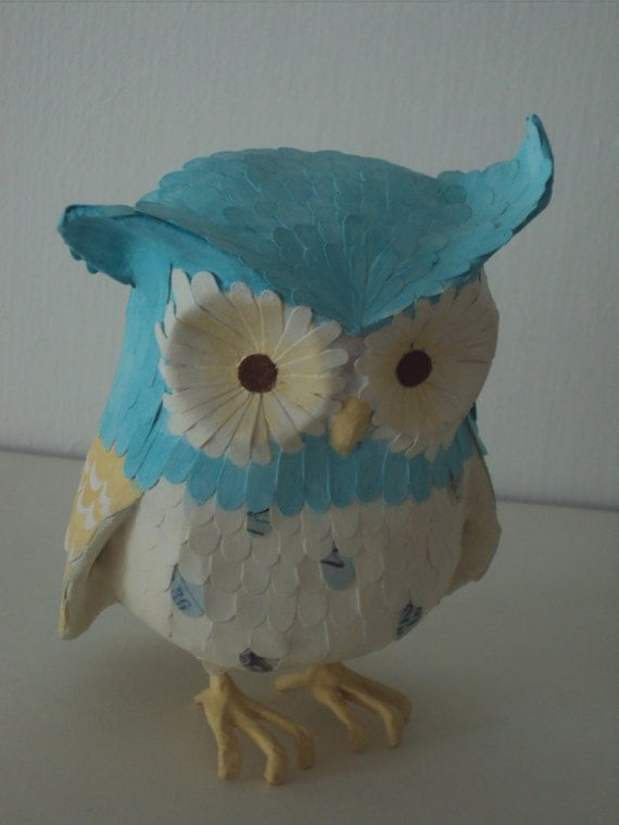 Items Similar To Paper Mache Owl Ernie On Etsy