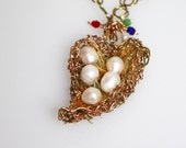 5 pearl brass and copper wire heart nest necklace with birth month charms