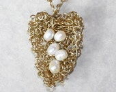 Custom item request for Angelyn. 5 pearl brass wire heart nest necklace