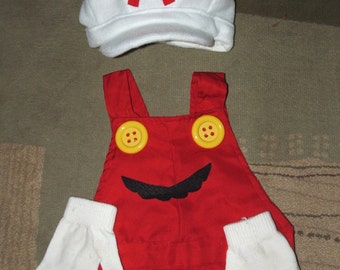 SuPeR  FiRe  Mario bros.  costume  on Sz  4 to 10 years