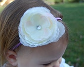 Lavender Headband with White Flower, Flower headband, Photo Prop, Baby Headband, Infant Headband, Girls Headband