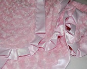 Custom Minky Swirl Blanket- Your Choice of Color with Satin Trim