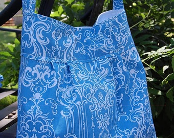 Diaperbag- Pleated Blue Iron Scroll-READY TO SHIP