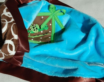 Turquoise and Brown Minky Baby Blanket Lovey- Ready to Ship