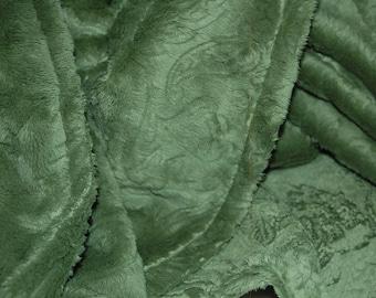 Minky Baby Blanket- Green Paisley