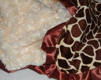 Giraffe Minky Baby Blanket with Satin Trim-Ready to Ship