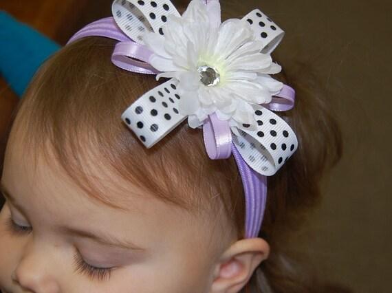 Lavender, Black and White Flower Headband