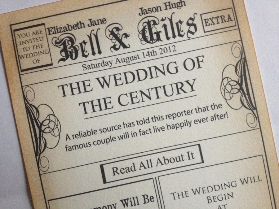 Newspaper Wedding Invitations: Unavailable Listing On Etsy