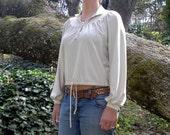 Vintage Peasant Blouse Size 12 1970's Long Sleeve Midriff
