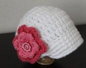 Newsgirl Crochet Hat w/ Removable Flower Clip - Infant, Toddler, Child