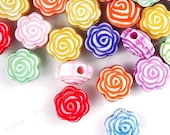 192 pcs Approx Acrylic Beads Flower Shape Antique Style Assorted/Color Mixed Fashion 7.5x7mm AR0004