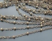 16ft -  beaded Chains Necklace Chain Handmade Chain Antique bronzeplated brass circle links chain with ball 2mm