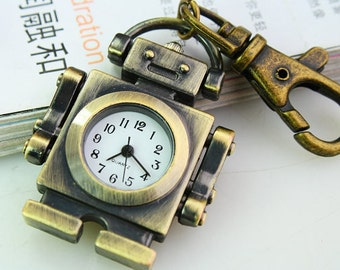 1pcs Antique Bronze  robot Watch Charms Pendant with lobster claw clasp ty147555