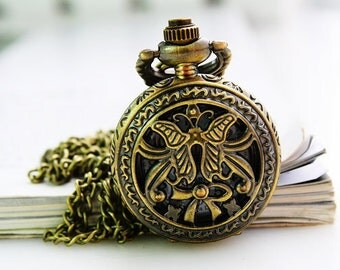 1pcs Antique Bronze Small bowknot  Pocket Watch Charms Pendant with chain Watch pendants, necklaces, children, friends gift accessories