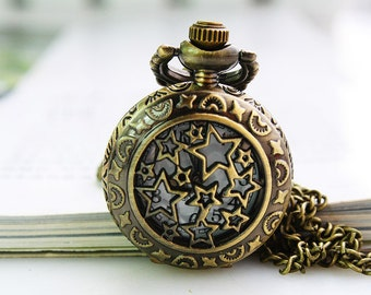 1pcs Antique Bronze   Watch Charms Pendant with chain ty146585